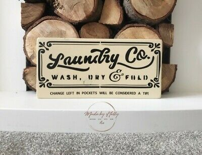 Laundry Wash Dry And Fold Quirky Wooden Sign Plaque Rustic Decor • 12£