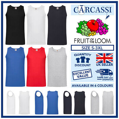 £4.75 • Buy Mens Plain Vests Gents Fruit Of The Loom Coloured Athletic T-Shirts Tank Top