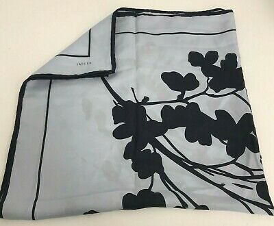Jaeger Floral Pattern Italian Silk Square Scarf Light Blue Navy Stylish 431498 • 6.99£