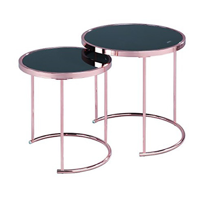 ASPECT Visio Set Of 2 Round Nesting Table-Glass Top/Copper Frame, Metal Black, X • 185.22£