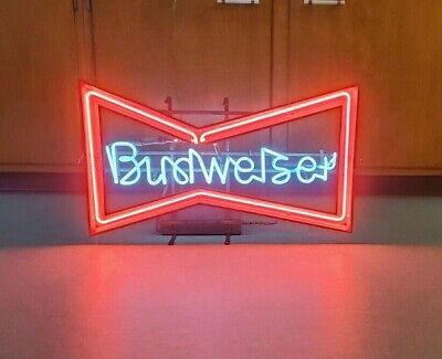 $ CDN441.91 • Buy Vtg Anheuser Busch BUDWEISER Beer Bow Tie Neon Bar 30  Advertising Sign USA