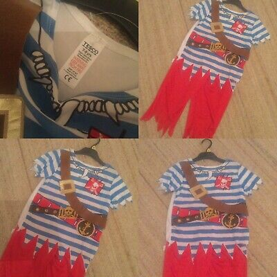 Children's Pirate Fancy Dress 7-8 Yrs Top & Red Trousers Belt Attached Shoulders • 4£