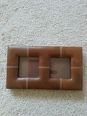 Brown Leather Small Twin Photo Frame Freestanding  • 3£