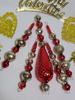 $ CDN23.94 • Buy Vintage Mercury Glass Bead Icicle 5 Christmas Ornaments RED Silver Czech