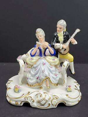 $ CDN12.62 • Buy Dresden Porcelain Figurine Musical Couple, Seated With Sheet Music, Germany