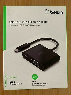 AU14.99 • Buy Belkin USB-C To VGA + Charge Adapter - Black