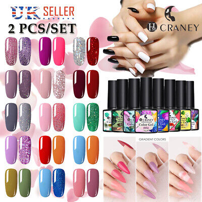 2 Colors Gel Polish Set Craney French Nail Art Manicure Varnish Kit Holographic • 4.99£