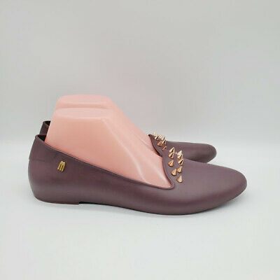 £21.62 • Buy Melissa Womens Virtue III Spiked Burgundy Jelly Flats Loafers Size 8