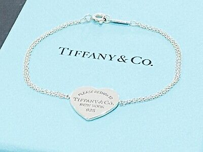 Return To Tiffany & Co Heart Tag Silver Bracelet 17cms Long Boxed • 109£