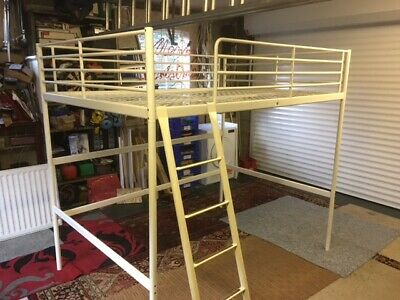 Ikea Double Loft Bed White Metal, No Mattress • 100£