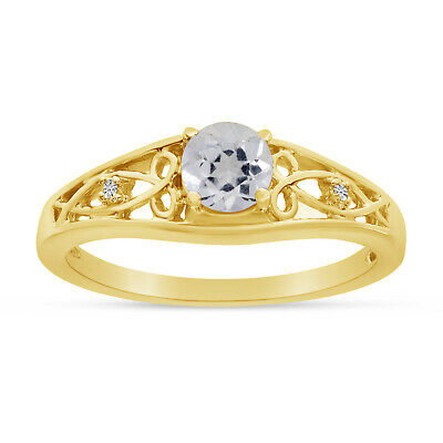 AU955.60 • Buy 14k Yellow Gold Round White Topaz And Diamond Ring