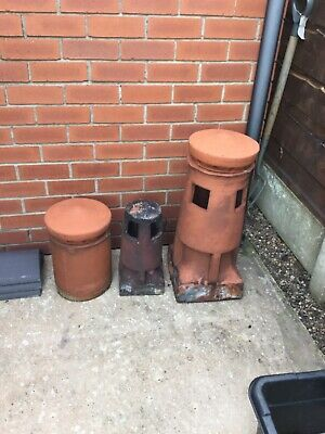 Vintage Chimney Pots & Cowls Collection Set Of 3  Clay  • 60£