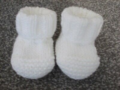 New - Hand Knitted Baby Bootees - White - Size Newborn • 1.95£