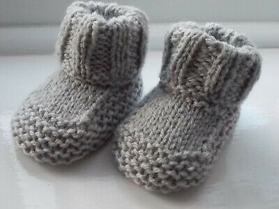 New - Hand Knitted Baby Bootees - Grey - Size 0-3 Months • 2£
