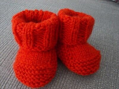 New - Hand Knitted Baby Bootees - Burnt Orange - Size Newborn • 1.95£