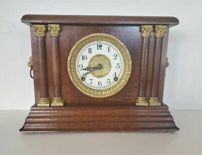 AU219.33 • Buy Antique 8 Day Sessions Mantel Clock Gong And Bell Strike Cherry Finish Works