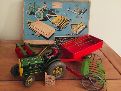 Vintage Mettoy Mechanical Farm Set Complete With Tractor Driver Tin Toy C1950s • 25£