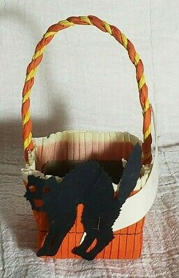 $ CDN38.14 • Buy Vintage HALLOWEEN Crepe Paper Nut Cup Basket W Die Cut Black Cat