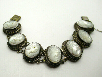 Mother Of Pearl Cameo Bracelet Art Deco • 38£