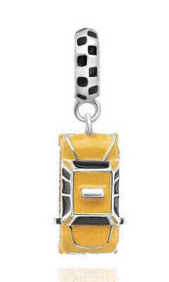 💎🎀 Sterling Silver 925 New York Nyc Yellow Taxi Cab Car Charm & Gift Pouch • 17.99£
