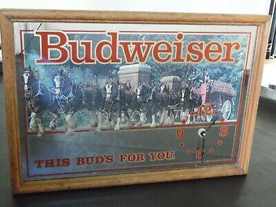 $ CDN82.66 • Buy Vintage Budweiser Clydesdale  This Buds For You  Clock Mirror Sign Wood Frame