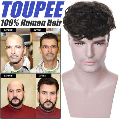 £33.47 • Buy THICK 150% Topper Remy Human Hair Toupee Clip In Hairpiece Piece Wigs Men Women