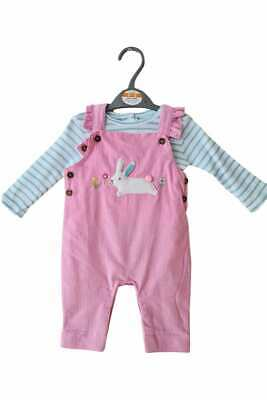 Girls Pink Cord Easter Bunny Rabbit Dungarees Striped Long Sleeve Top Outfit Set • 10.99£