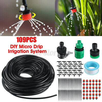 30M Micro Drip Irrigation System Set Automatic Garden Hose Watering Connectors • 11.29£