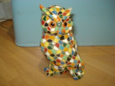 Owl Statue,  Carnival  Model In Barcino Mosaic, Height 11 Cm, Hand Painted. READ • 1£