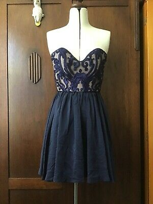 AU35 • Buy Alice Mccall Dark Blue Silk Strapless Dress Women's Size 6