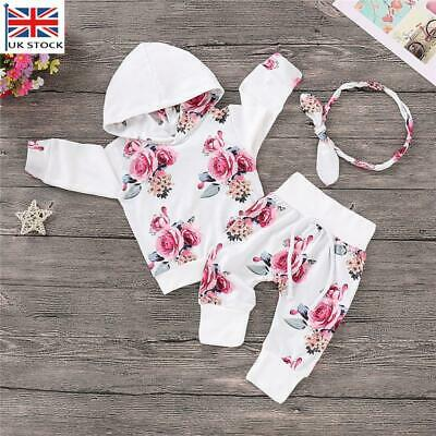 £10.09 • Buy UK Newborn Kids Baby Girl Clothes Floral Hooded Top Pants Outfits Sets Tracksuit