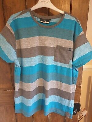 Mens Duck And Cover Blue Grey T Shirt XXL Striped • 1.10£