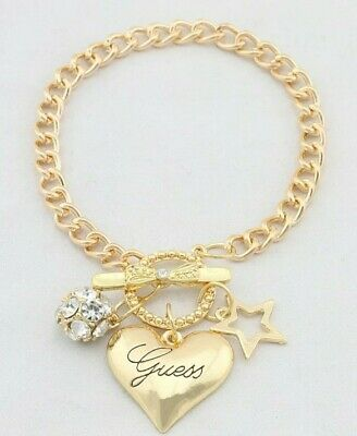 £5.99 • Buy T-bar Designer Inspired Chain Bracelet Heart Bow Charm Guess Its Gold In Colour