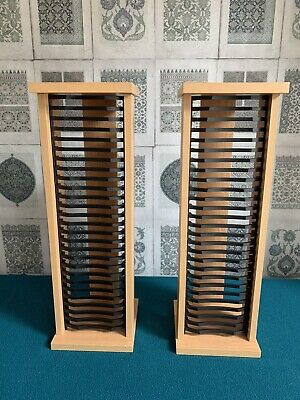 Pair Of Small Wooden CD Storage Racks With Shelves • 5.99£