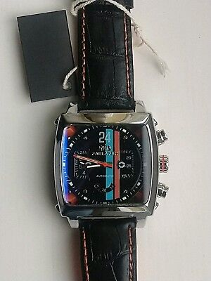 Mens Watch Racing Le Mans Steve McQueen Monaco Porsche Gulf Look Black Face Gift • 59.99£