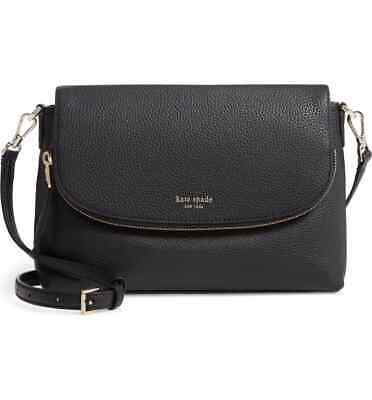 $ CDN262.87 • Buy NWT Kate Spade Polly Flap Large Convertible Leather Crossbody Bag BLACK AUTHENTC