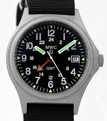 MWC G10 GMT 100m Dual Time Bead Blasted Stainless Steel Military Wrist Watch • 155.31£