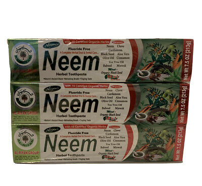 Neem Halal Toothpaste 7.5 Oz X 3pcs  Special By Al-Riyan Group • 12.16£