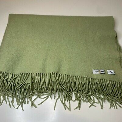 Williams Sonoma Throw Blanket 100% Cashmere Color Green Tassels 54x41 • 71.53£