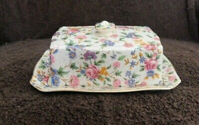 $ CDN112.48 • Buy Vintage Royal Winton Ivory Old Cottage Chintz Cover Butter Dish England