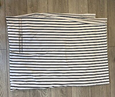 Remnant Cotton Viscose Jersey Fabric - Loop Back Huge Piece! NEW. Navy Striped. • 10£