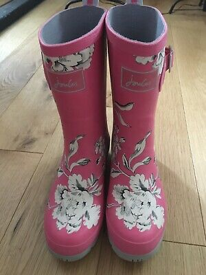 Joules Women Molly Mid Height Wellies Pink Size 4 • 20£