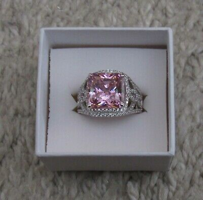 $59 • Buy Charles Winston Sterling Silver Ring  Bella Luce Pink & Clear  CZ Size 10.5  JTV