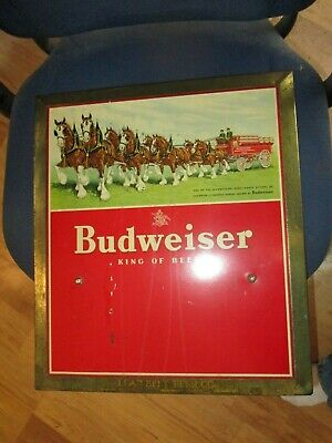 $ CDN158.96 • Buy 1940's Budweiser Tin Over Cardboard Calendar Clydesdale Horses & Wagon Beer Sign