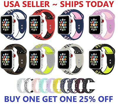$ CDN7.55 • Buy Silicone Sport Band 38mm 42mm For Nike+ Apple Watch Series 1 2 3 4 5 6 SE