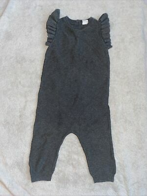 H&M Baby Girls Grey Knitted Frill Sleeve All In One Romper Suit UK 12-18 Months • 4.99£