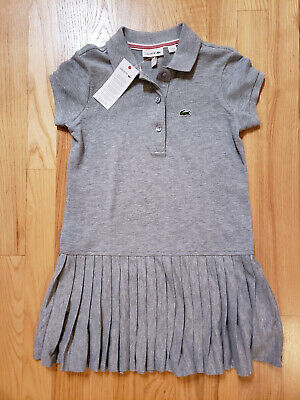 LACOSTE Girl's Cotton Piqué Polo Dress With Pleated Skirt - BNWT • 42.55£