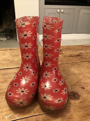 Girls Pink Flower Wellies Size 7 • 1.30£