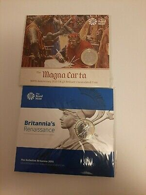 Joblot 2015 £2 COIN UK TWO POUNDS MAGNA CARTA BRITANNIA PACK SEALED ROYAL MINT • 12.50£