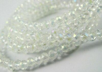 $ CDN0.01 • Buy Lots 90Pcs White AB Faceted Crystal Glass Rondelle Loose Spacer Beads DIY #z